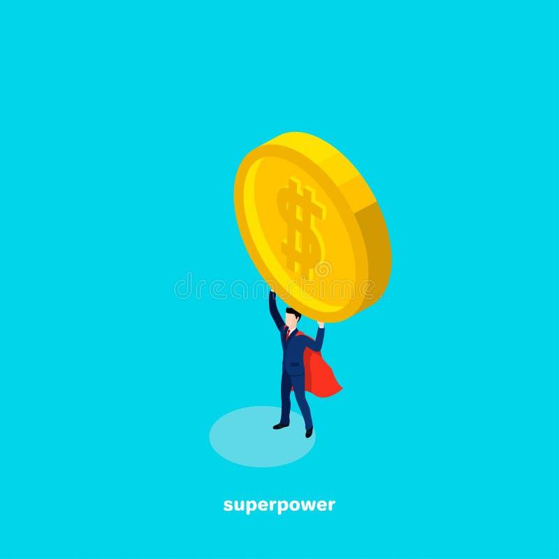 En man i en affärsdräkt och en kappa för superhero` s rymmer ett stort mynt med en dollar undertecknar över hans huvud vektor illustrationer