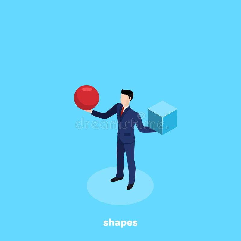 En man i en affärsdräkt rymmer en röd boll i en hand och i en annan blå kub royaltyfri illustrationer