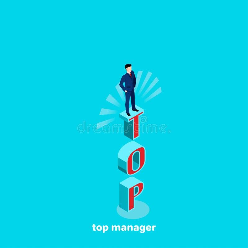 En man i en affärsdräkt står på bokstäverna, bästa chef vektor illustrationer