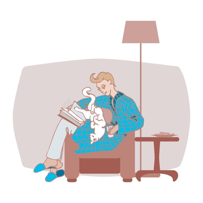 En man i en badrock med en katt på hans varv som läser en bok i ett hemtrevligt rum i vektor stock illustrationer