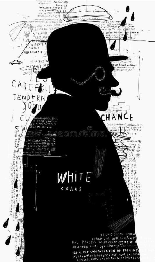 En man i en hatt och en pince-nez royaltyfri illustrationer