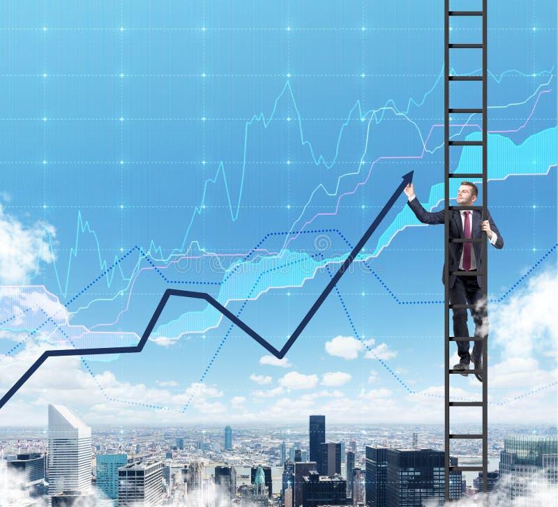 En man i en stege drar en linje diagram som en översikt av finanstendenserna royaltyfri foto