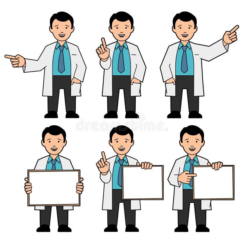 En man i ett band och ett vitt labblag vektor illustrationer