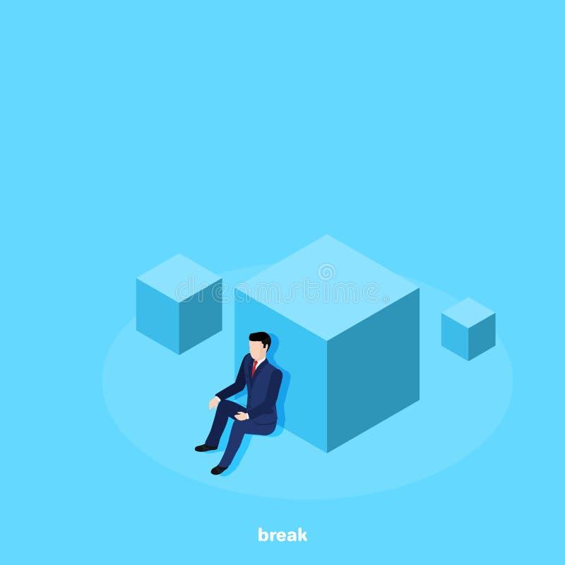 En man i ett sammanträde för affärsdräkt som lutar hans baksida på en stor kub stock illustrationer