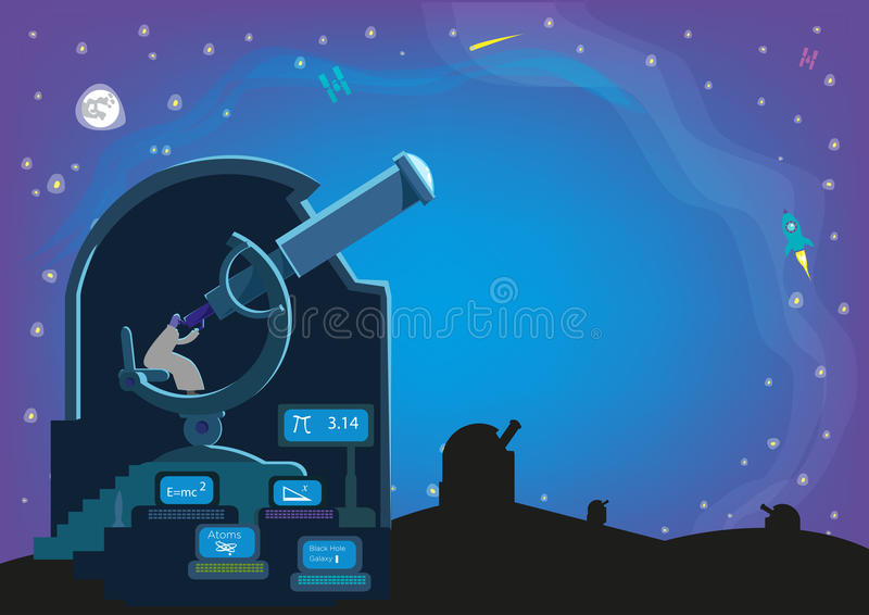 En man inom en observatorium med stora teleskop och laboratorium som söker för himlakroppar i universumet Redigerbar vektor stock illustrationer