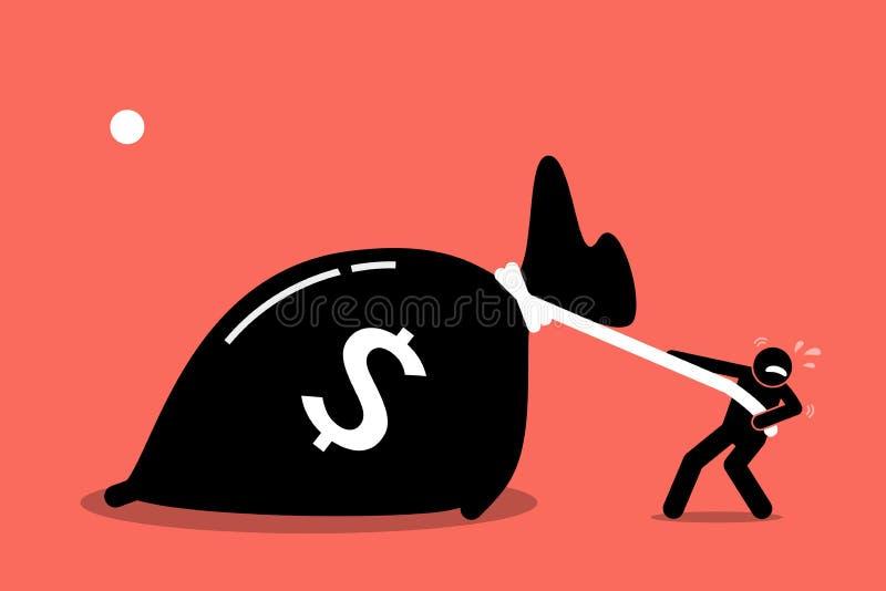 En man kämpar för att dra en stor påse av pengar, därför att den är för tung stock illustrationer