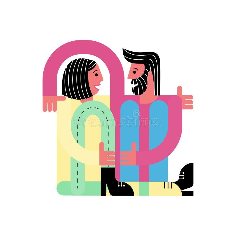 En man kramar en kvinna Vänner sitter tillsammans Kort för dag för valentin` s vektor illustrationer