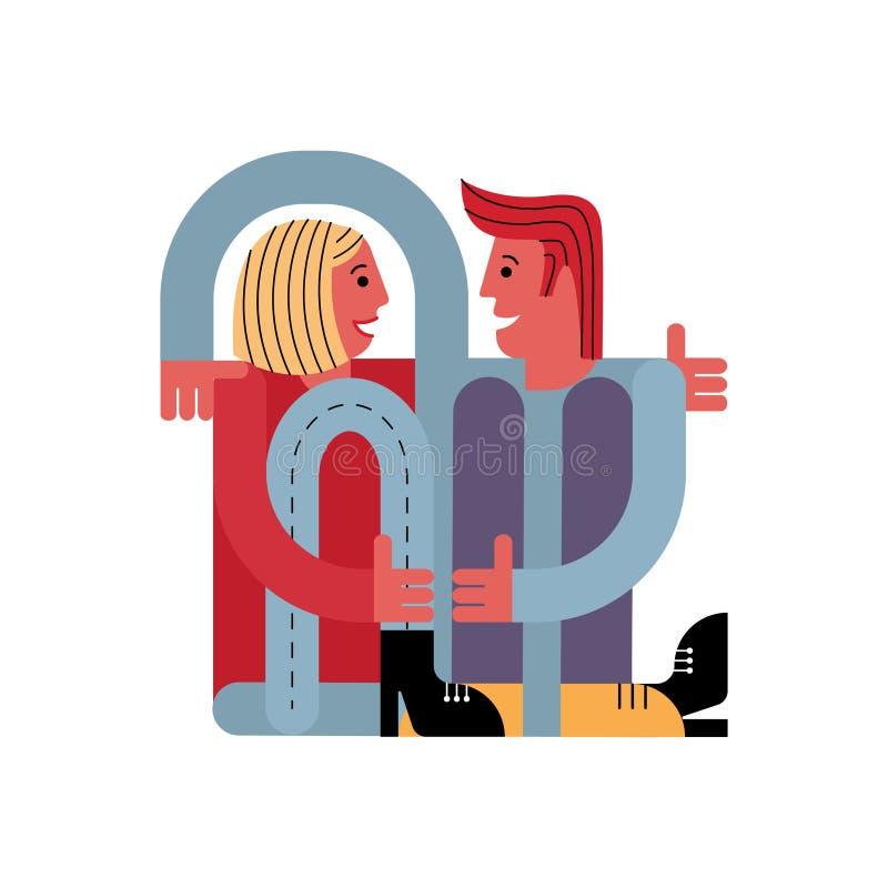 En man kramar en kvinna Vänner sitter tillsammans Kort för dag för valentin` s stock illustrationer
