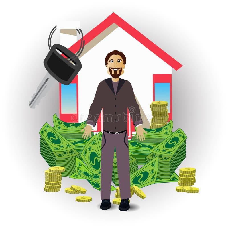 En man med ett hus och en packe av pengar på vit vektor illustrationer