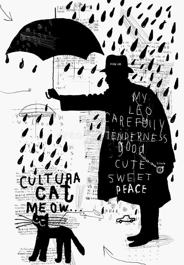 En man med ett paraply royaltyfri illustrationer