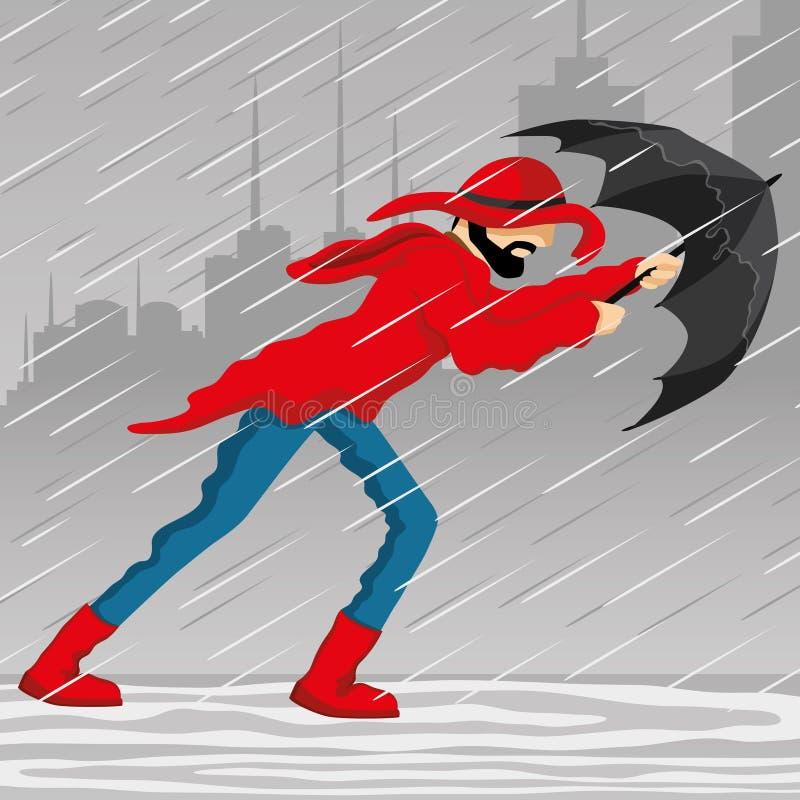En man med ett paraply vektor illustrationer