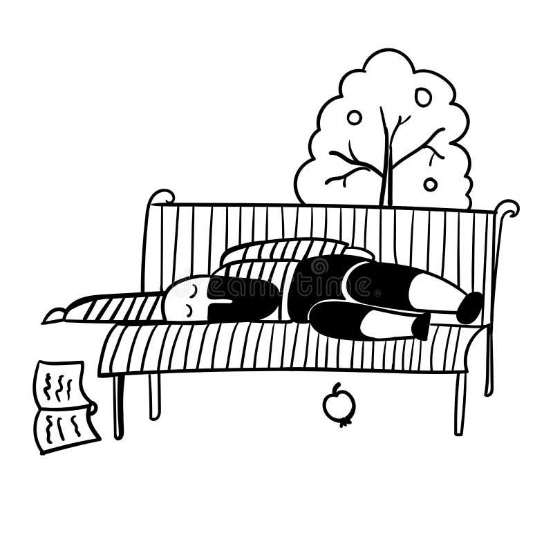 En man med ett svart skägg i en randig väst avverkar sovande på en illustration för parkerabänk stock illustrationer