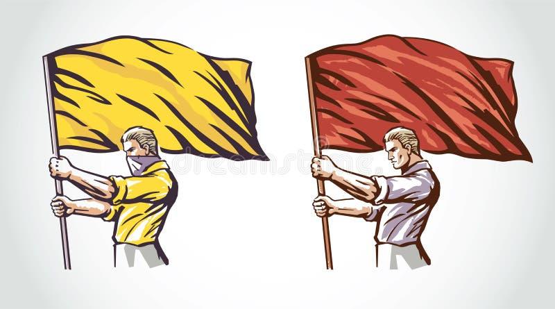 En man med flaggan stock illustrationer