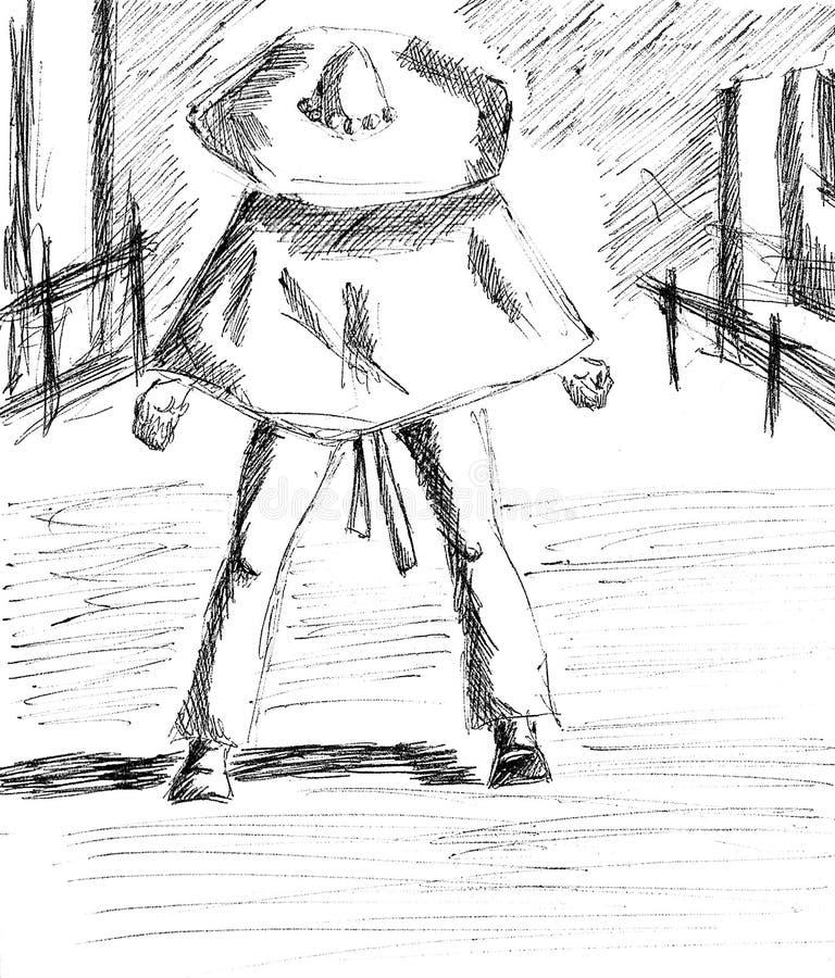 En man med en sombrero som är klar för en duell stock illustrationer
