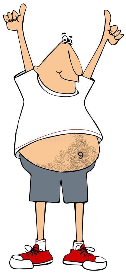 En man med en stor hårkork som sticker ut ur sin t-shirt vektor illustrationer