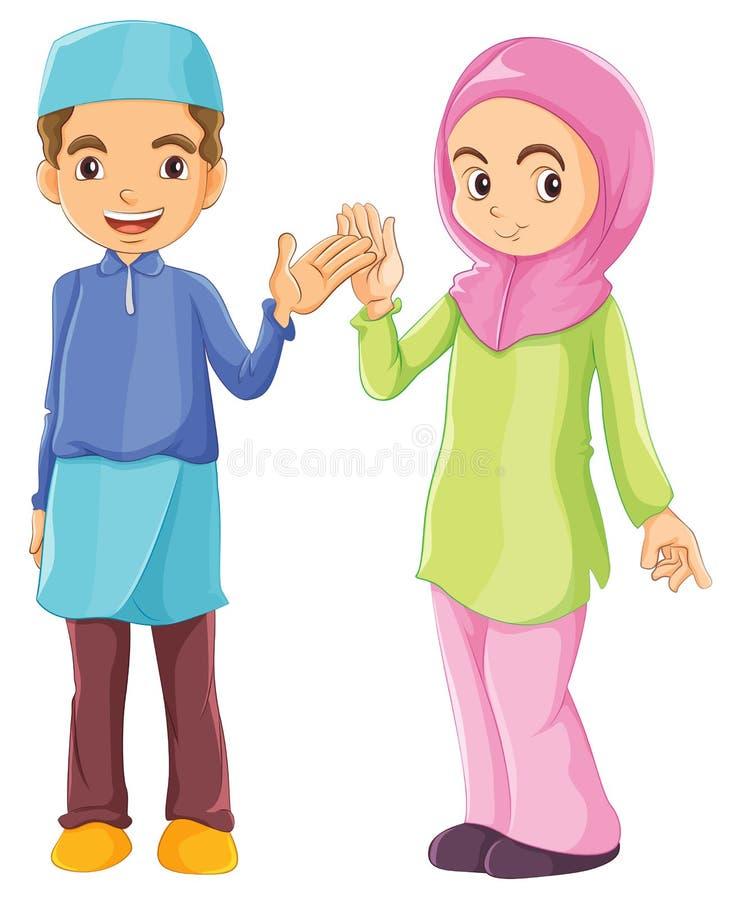 En man och en kvinnlig muslim royaltyfri illustrationer