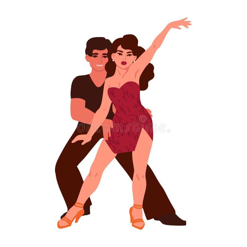 En man och en kvinna dansar salsa Tecken som isoleras p? vit bakgrund vektor stock illustrationer