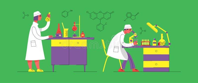 En man och en kvinna i likformig arbetar i ett laboratorium Kemiskt och biologiskt laboratorium vektor illustrationer
