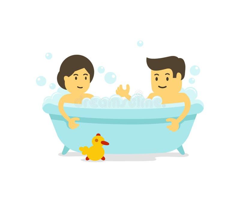 En man och en kvinna tar ett bad tillsammans Dusch i badrummen Badningtid Romantisk avkoppling Tecknad filmstil royaltyfri illustrationer