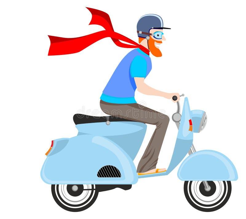 En man på en sparkcykel stock illustrationer