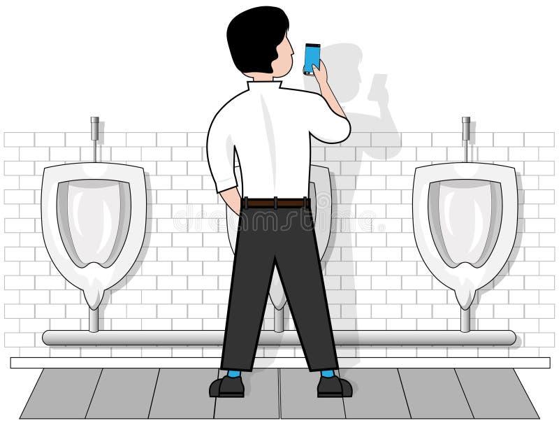 En man på en isolerad vit bakgrund i en toalett på pissoar, blickar på telefonen som rymmer i hans hand royaltyfri illustrationer