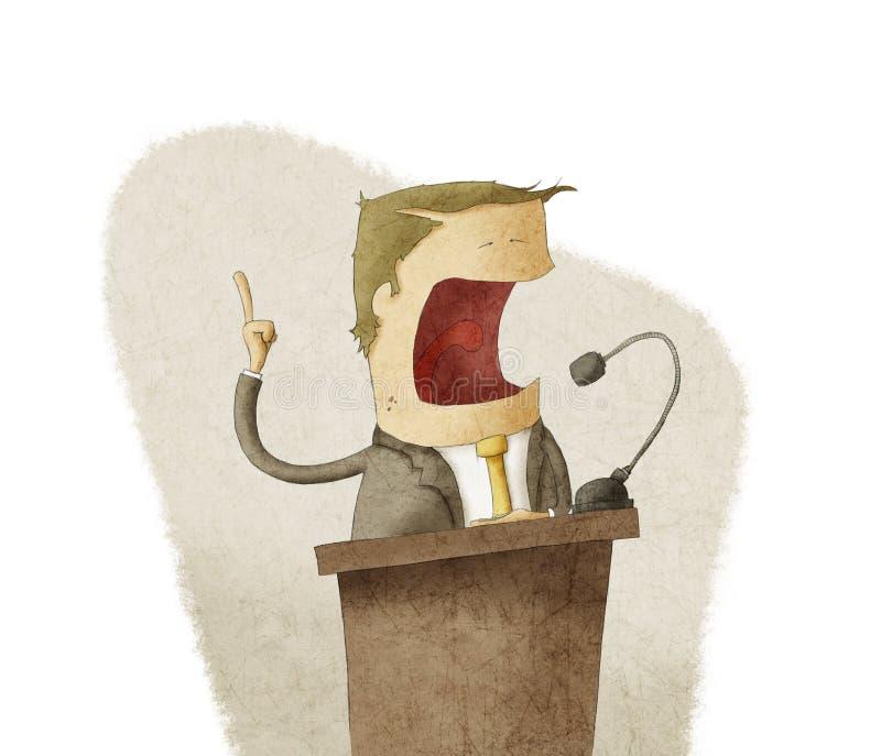 Man på podiet som ger anförande royaltyfri illustrationer