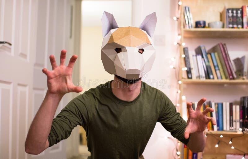 En man poserar som ett djur, medan bära en rävmaskering arkivfoton