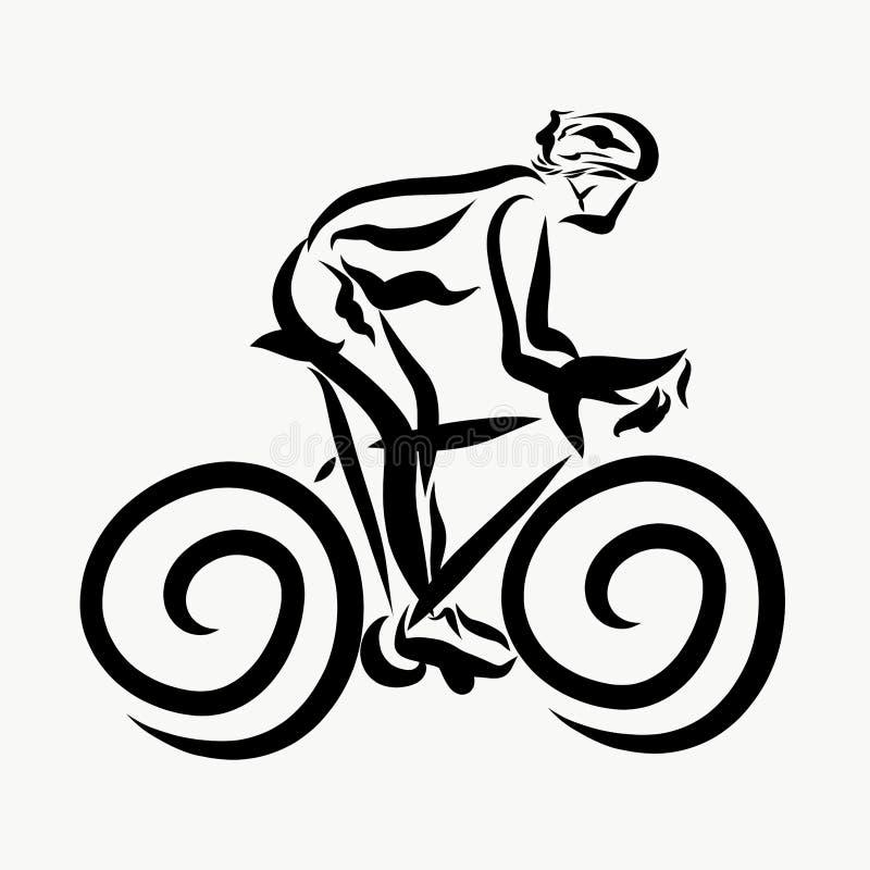 En man rider en cykel, sportar och hälsa stock illustrationer