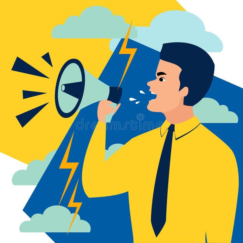 En man ropar i en megafon I minimalist stil Plan vektor f?r tecknad film royaltyfri illustrationer