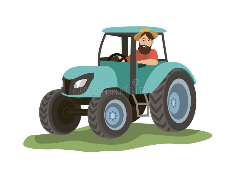 En man sitter i en blå traktor och ser ut fönstret stock illustrationer