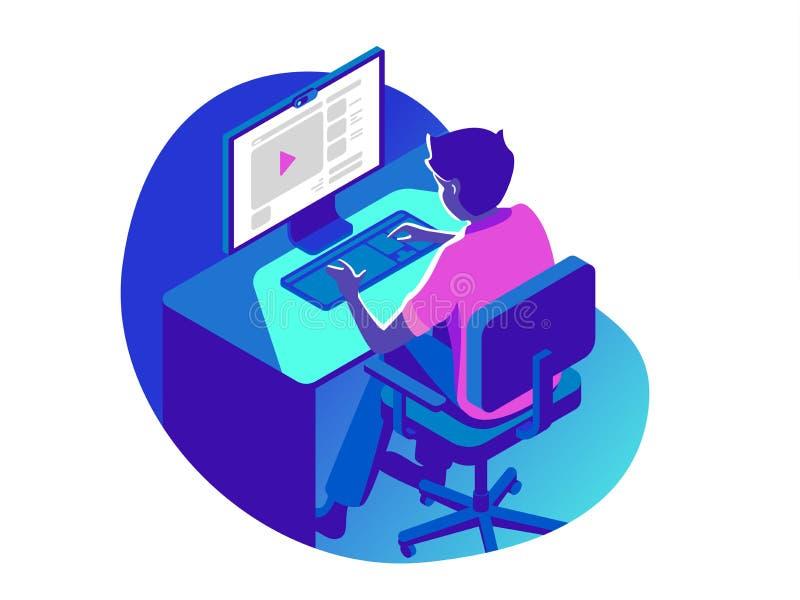 En man som arbetar på datoren i aftonen på den mörka bakgrunden Isometrisk illustration för vektor 3d vektor illustrationer