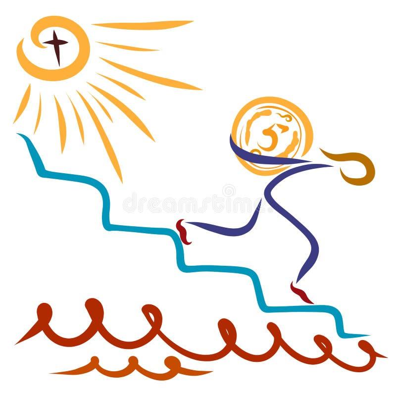 En man som betungas med ett stort mynt, går ner trappan som avlägsnar vektor illustrationer