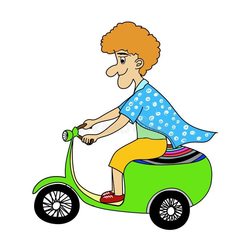 En man som kör en motorcykel royaltyfri illustrationer