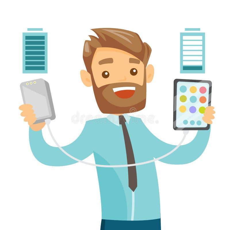 En man som laddar upp hans telefon med en maktbank via usb stock illustrationer