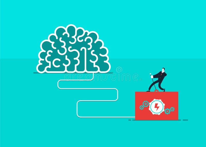 En man som vänder på hjärnan Vektoraffär vektor illustrationer