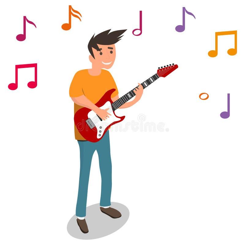 En man spelar den elektriska gitarren, gitarrist spelar gitarren stock illustrationer