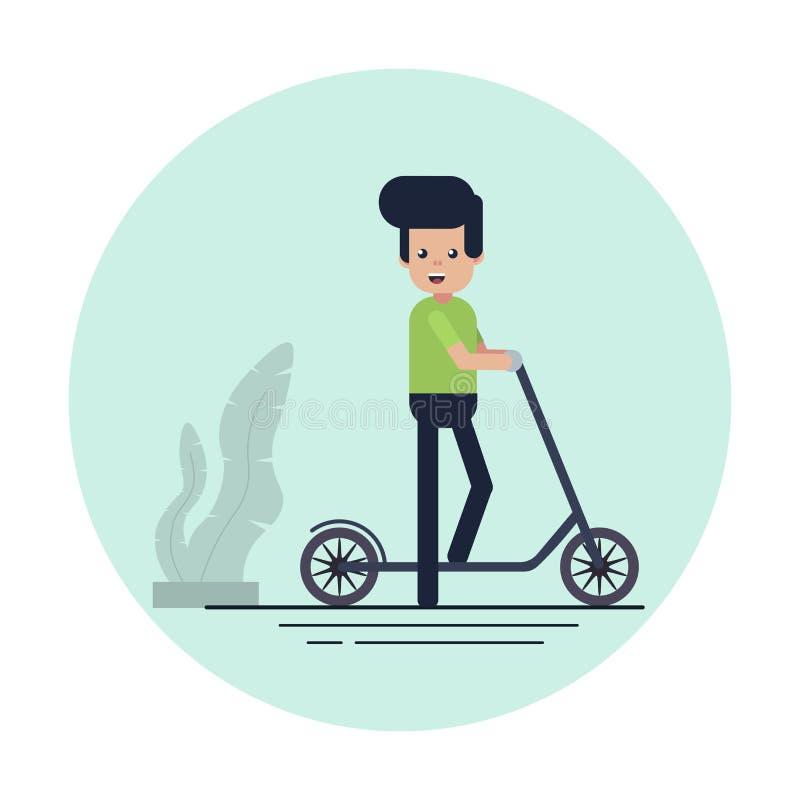 En man står med en sparkcykel royaltyfri illustrationer