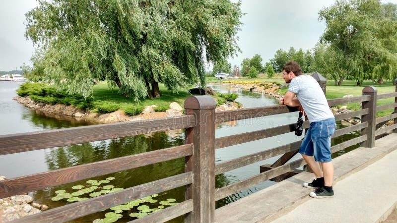 En man står på bron och blickarna på sikten: ett damm, näckrors, en ö med en pil, en trevligt klippt gräsmatta royaltyfri foto
