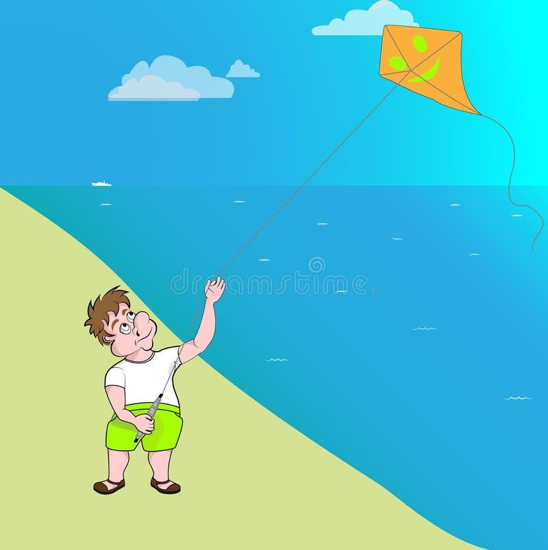 En man startar en drake vid havet på en solig varm dag royaltyfri illustrationer
