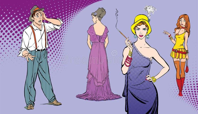 En man vänder mot ett val Svårt beslut förvånad pojke Grabb som väljer kvinnan Illustration för stil för popkonst retro folk in stock illustrationer