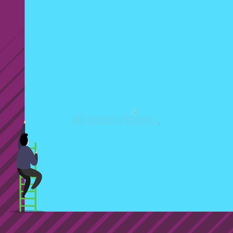 En manlig mänsklig person klättrar upp trappan Manflyttningmoment av den höga högväxta väggen med den korta stegetrappan foto av royaltyfri illustrationer