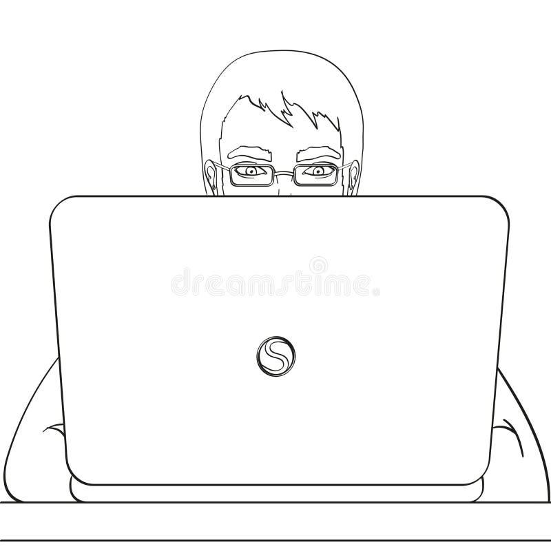 En manlig programmerare arbetar för bärbara datorer It-personal på datoren Illustration objekt på vit bakgrund för färgläggningdi royaltyfri illustrationer