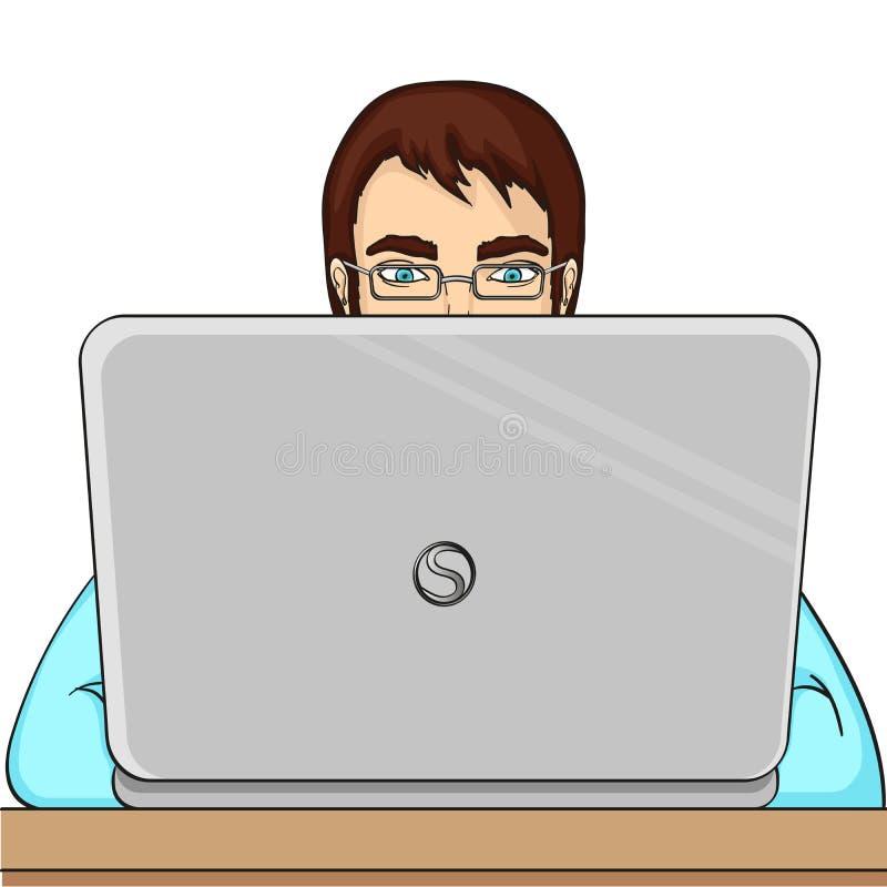 En manlig programmerare arbetar för bärbara datorer It-personal på datoren Rasterobjekt på en vit bakgrund vektor illustrationer