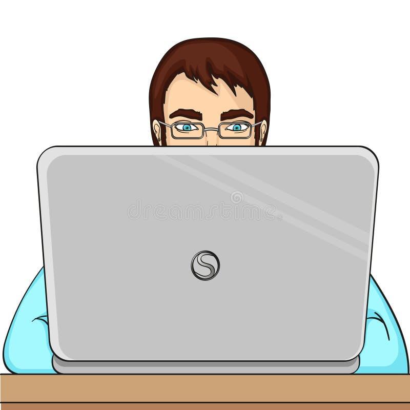 En manlig programmerare arbetar för bärbara datorer It-personal på datoren Vektorobjekt på en vit bakgrund vektor illustrationer
