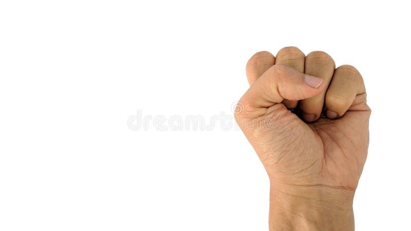 En mans hand med ett symbol på vit bakgrund, den manliga handen visar näven royaltyfri fotografi