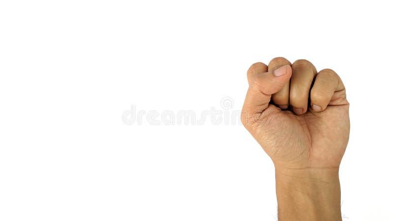 En mans hand med ett symbol på vit bakgrund, den manliga handen visar näven arkivbild
