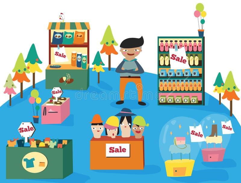 En manshopping i ett gulligt varuhus med många produkter på royaltyfri illustrationer