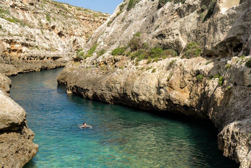 En mansimning i det inlands- havet av Gozo, Malta royaltyfri bild
