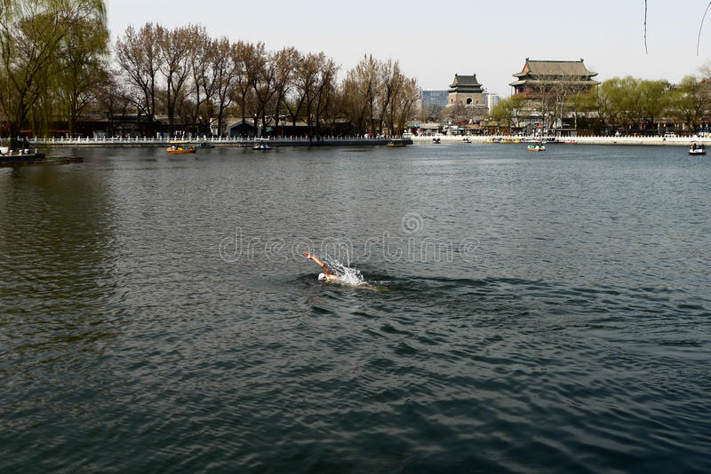 En mansimning i houhaisjön av Peking royaltyfria foton