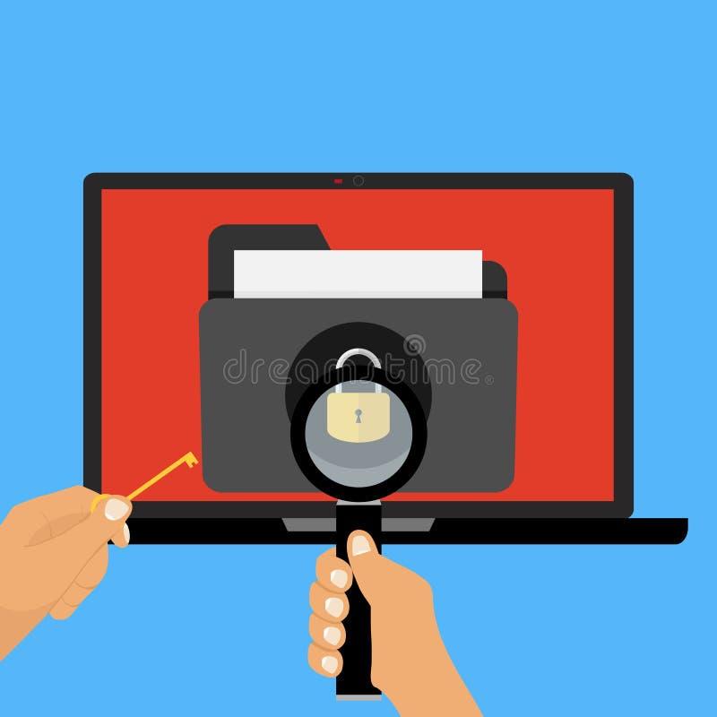 En mapp med dokument under skydd, datoren är säker stock illustrationer